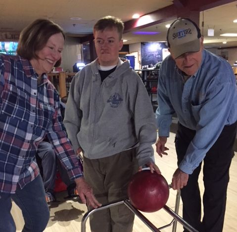One of Timberline's participants enjoying bowling.